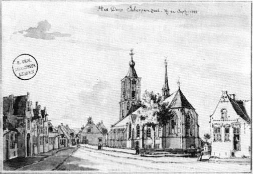 Scherpenzeel op 22 september 1749. (6 dagen voor de 1e  trouwdag van Joris !) De Dorpsstraat gezien vanuit het Oosten. Tekening door Jan de Beyer.